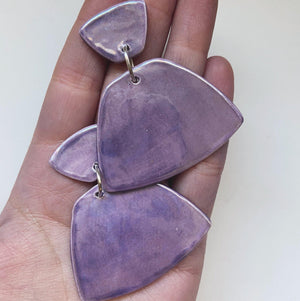 MAJORETTE- Lavender Trapezoid Statement Earrings - gloriafaye