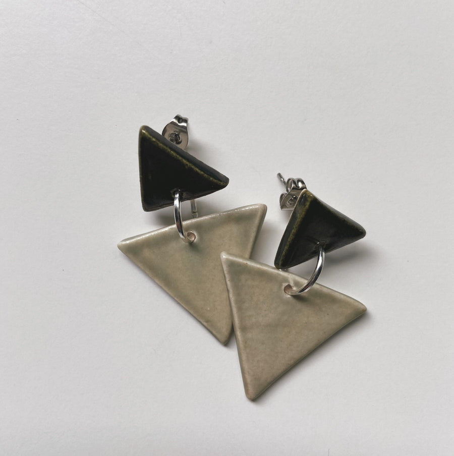 MATILDA- sage green triangle earrings - gloriafaye