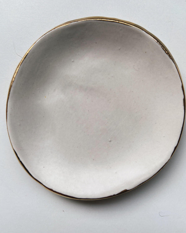 matte light grey and gold catch all dish - gloriafaye