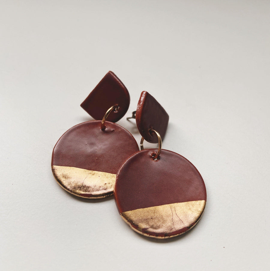Matte Mauve and Gold Circle Drop Earrings - gloriafaye