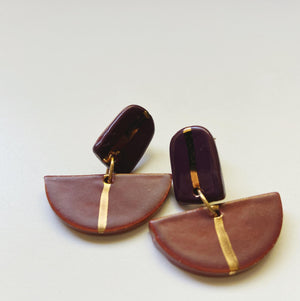 Mauve and Purple drop earrings - gloriafaye