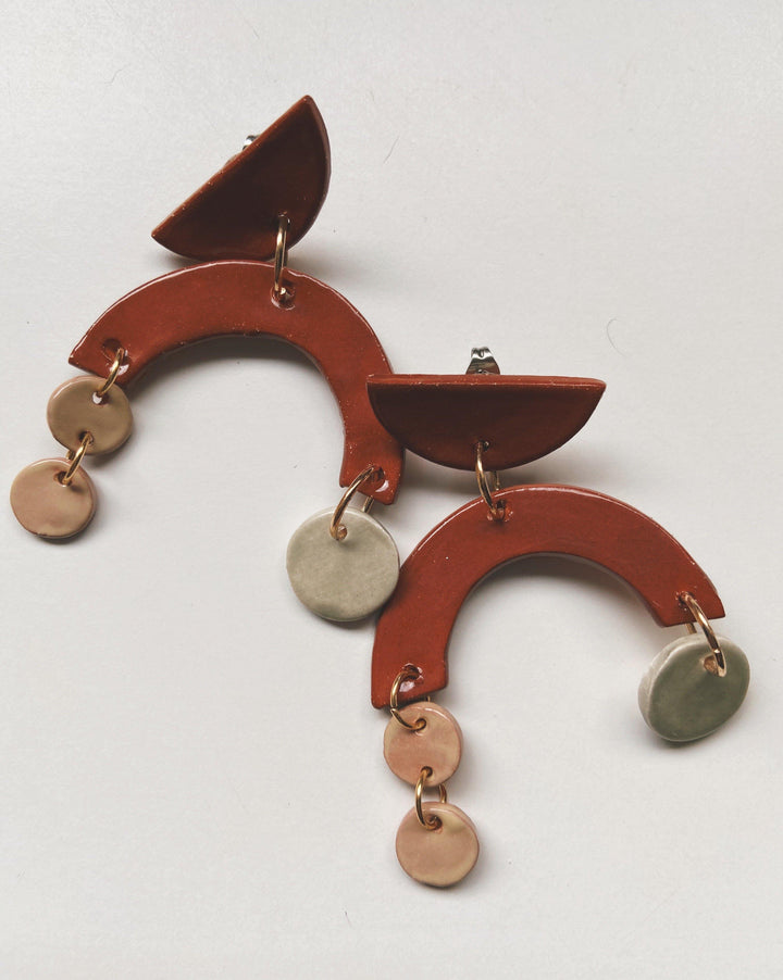 MYTH - Terra Cotta Asymmetrical Dangle - gloriafaye