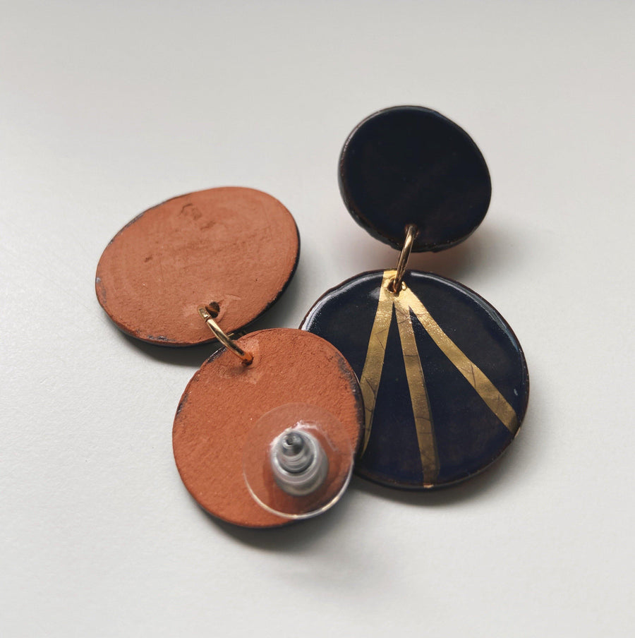 Navy and Gold Ray Circle Drop Earrings - gloriafaye