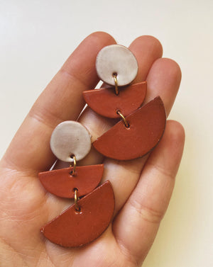 OBVS- Terra Cotta layered half moon earrings - gloriafaye