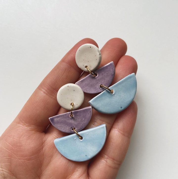 OBVS- Pastel layered half moon earrings - gloriafaye