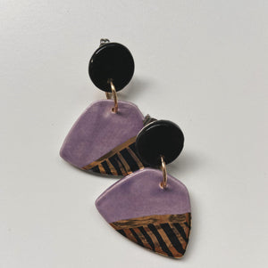 Purple and Black Trapezoid Statement Earrings - gloriafaye