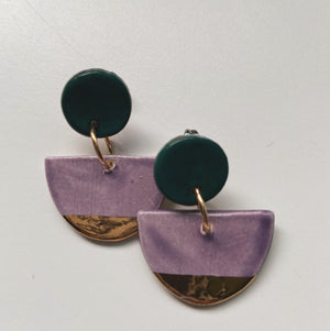 Purple and Gold Half Moon Drop - gloriafaye
