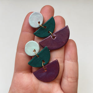 Jewel toned layered half moon earrings - gloriafaye