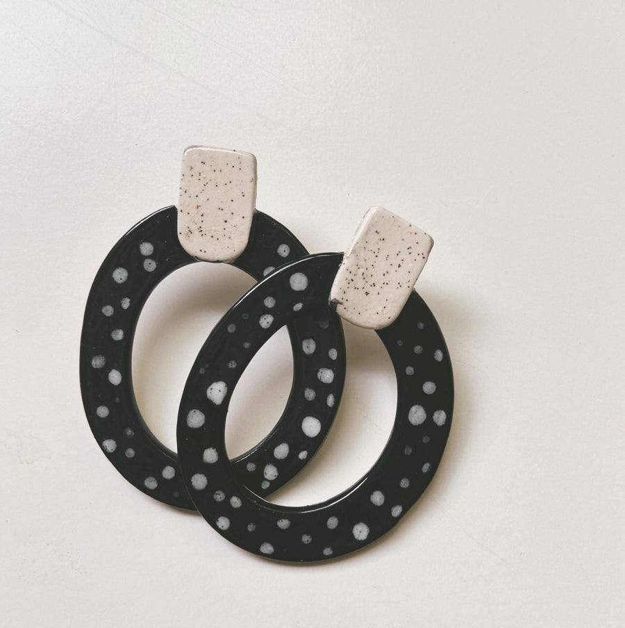 Black and white ceramic hoops