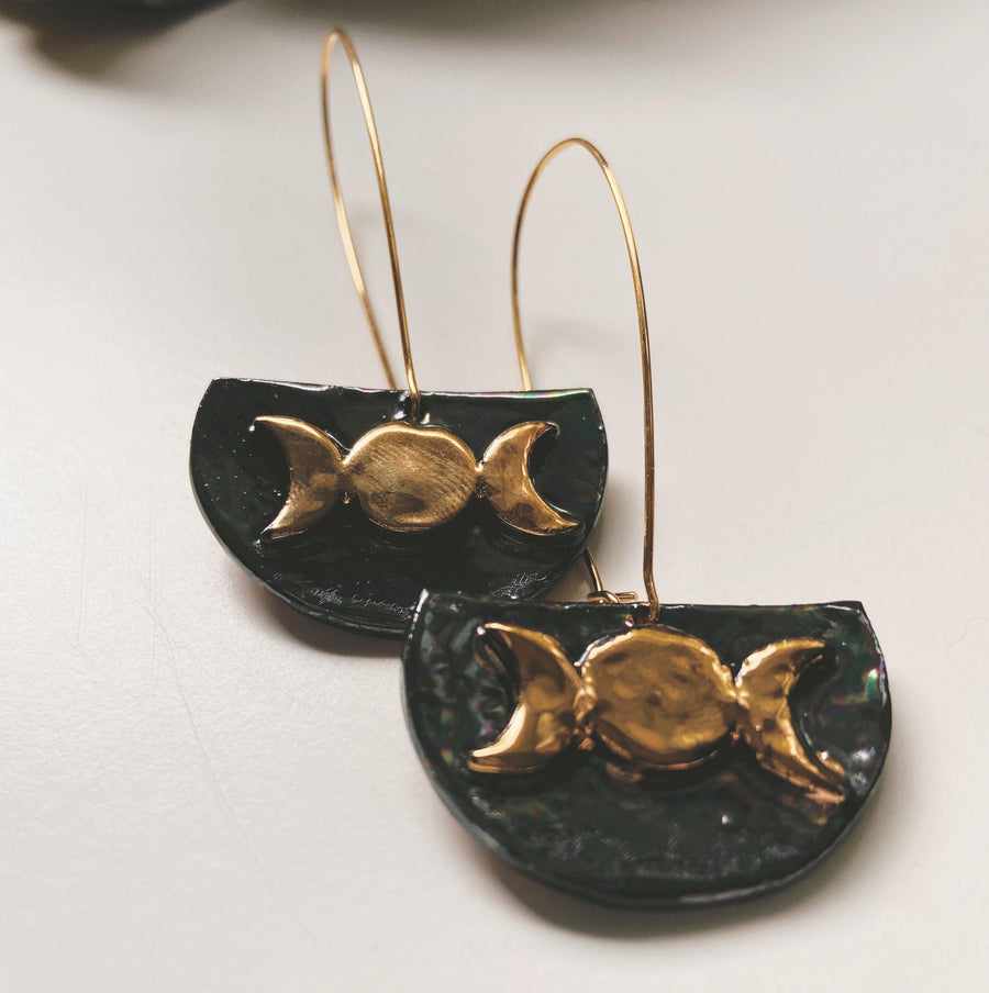 moon phase ceramic earrings