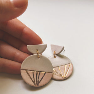 Ivory and pink with gold rays circle earrings