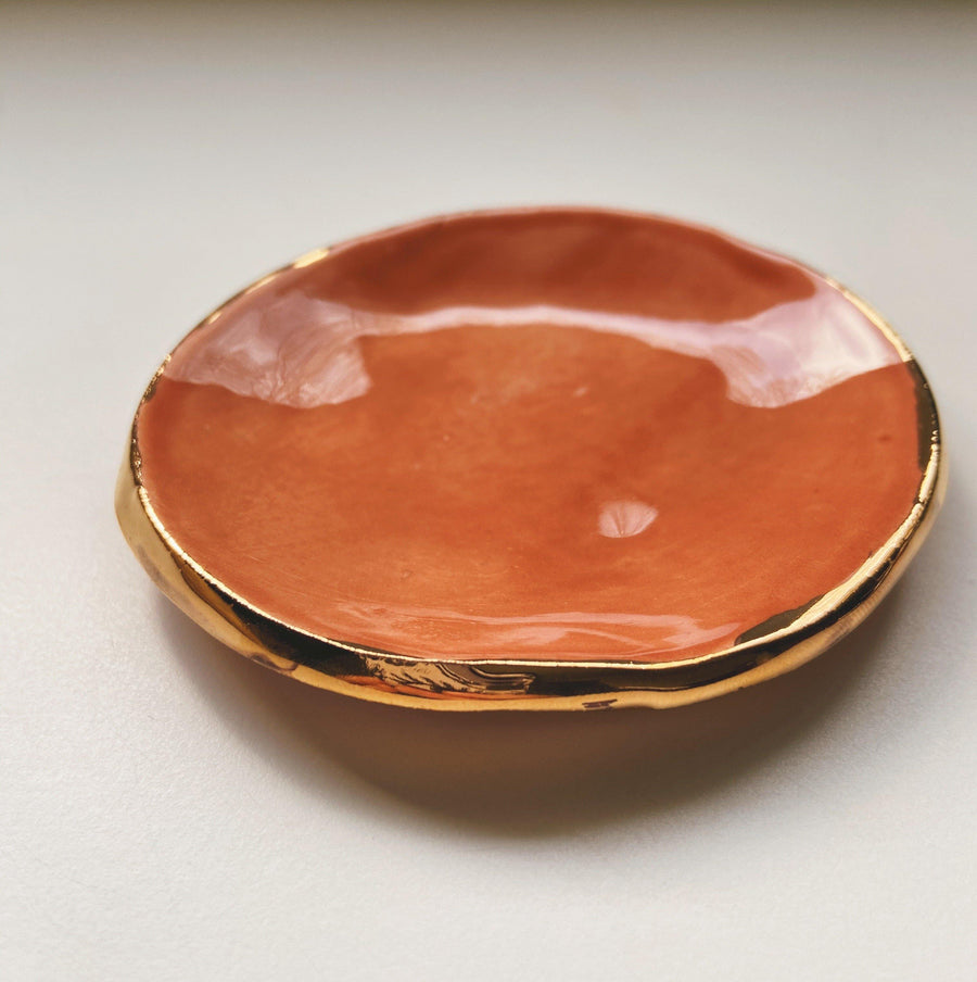 peach and gold catch all dish - gloriafaye