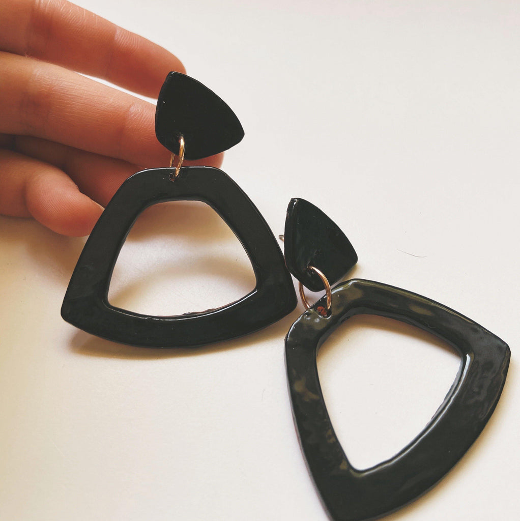 WILD-  Black Statement Earrings - gloriafaye