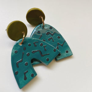 teal and avocado arch ceramic earrings