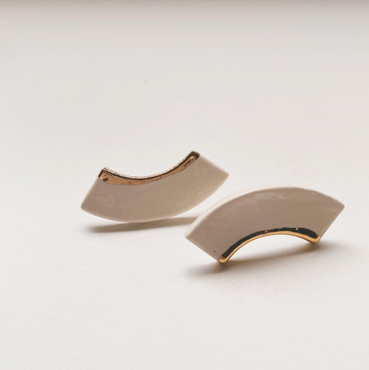 White and Gold Ceramic studs