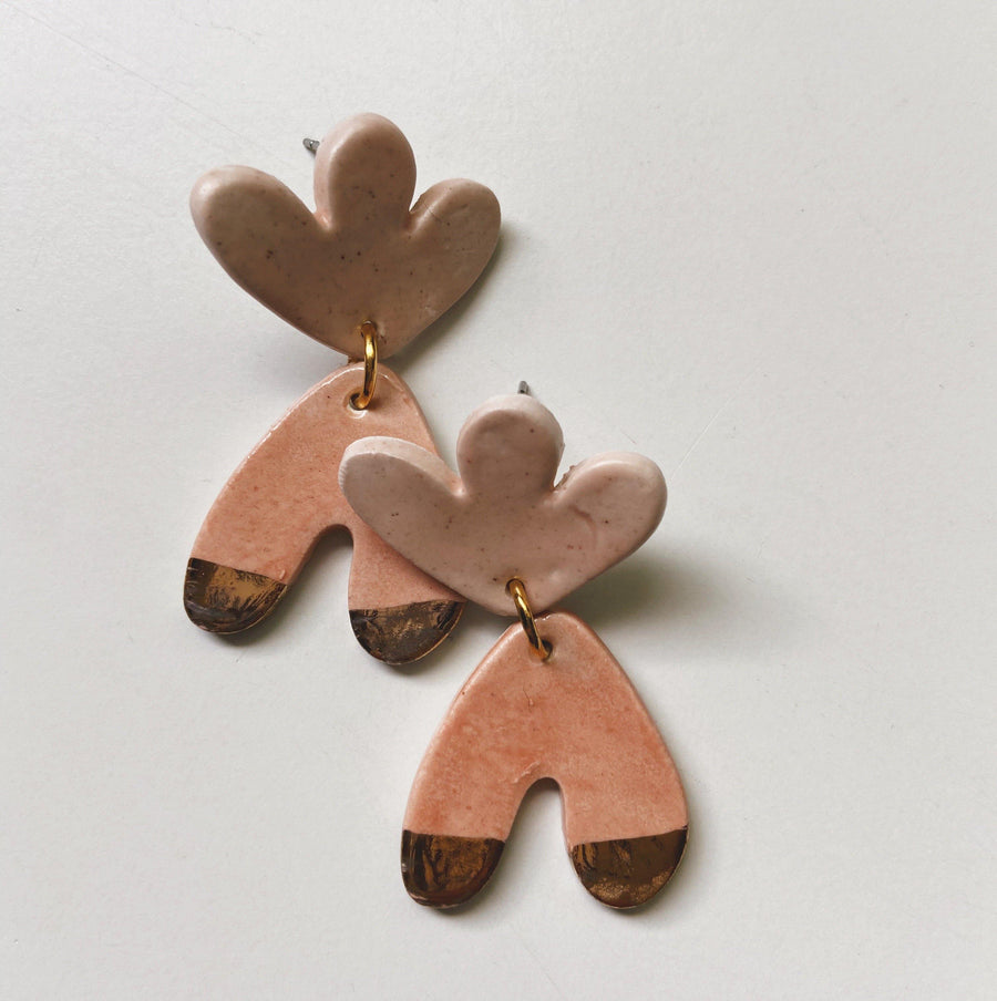 abstract peach and pink statement earrings