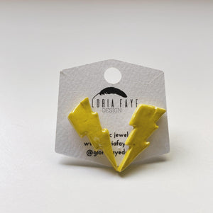 Yellow Lightning Bolt Studs - gloriafaye