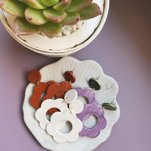flower ceramic earrings