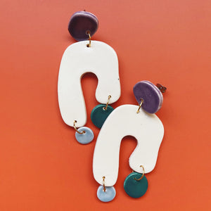 multi colored abstract  ceramic earrings
