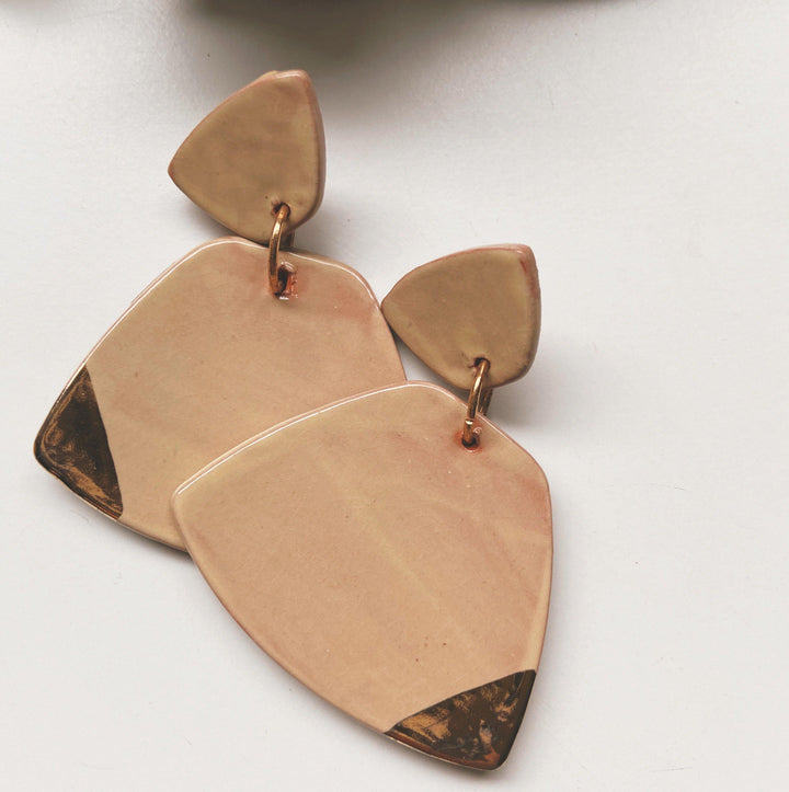 beige ceramic earrings