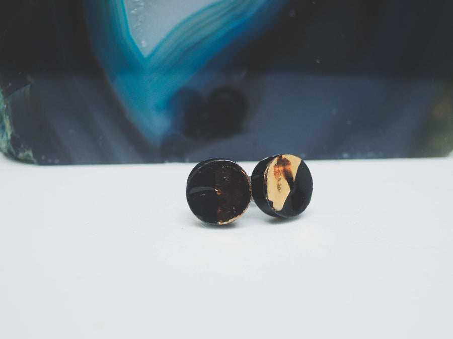 Black and Gold Studs - gloriafaye
