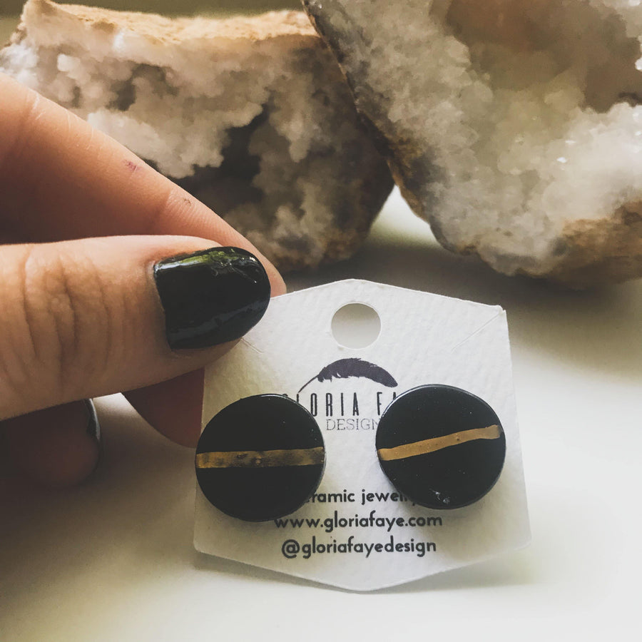 Black and Gold Line Studs - gloriafaye