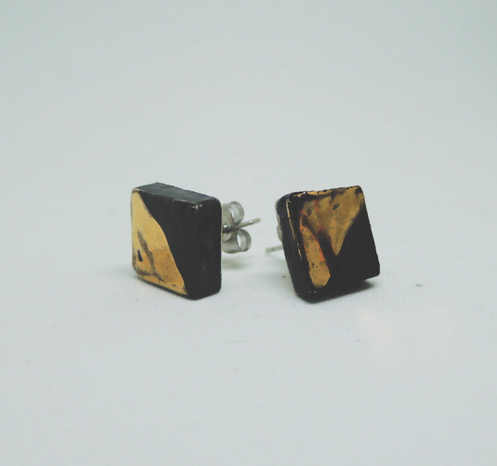 Black and Gold Square Studs - gloriafaye