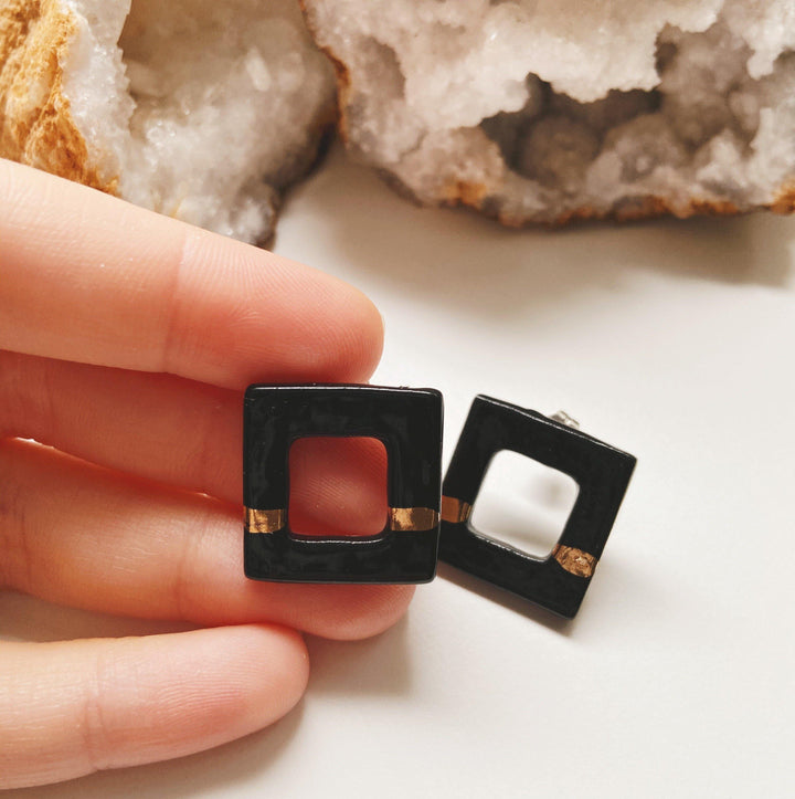 black square ceramic studs
