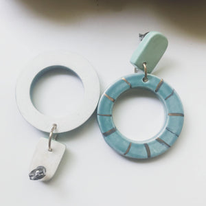 Donut Statement Earrings - Peacock Blue - gloriafaye