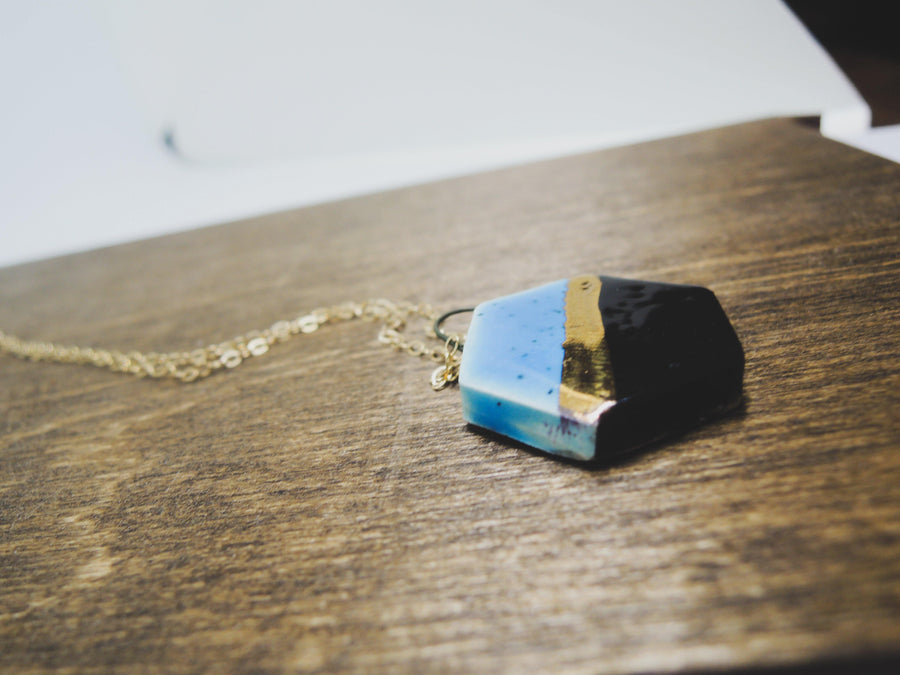 Black and Blue Hex Necklace - gloriafaye