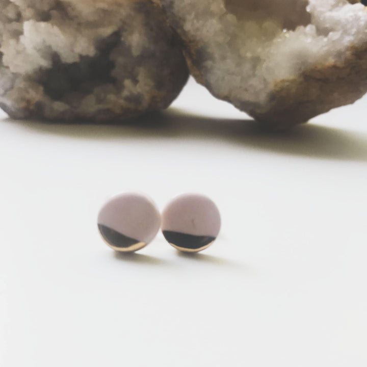 Blush Pink + Gold Stud Earrings - gloriafaye