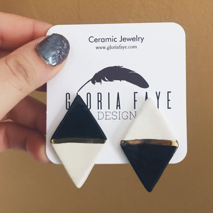 Black and White Diamond Statement Studs - gloriafaye