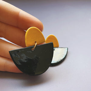 black and yellow ceramic earrings