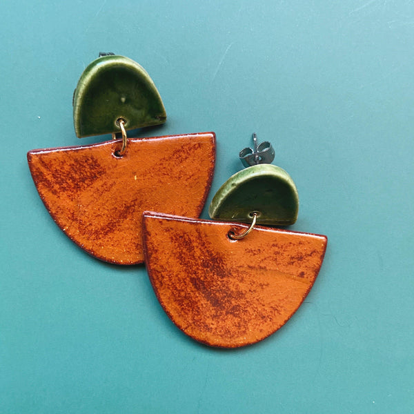 autumn and green ceramic earrings