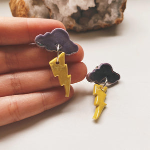Cloud and lightning bolt earrings