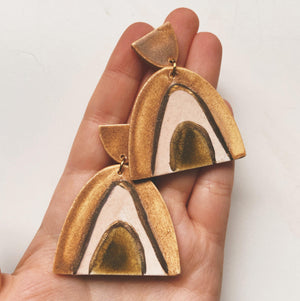 rainbow earth ceramic earrings