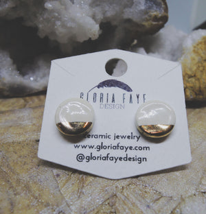 Ivory and Gold Dipped Studs - gloriafaye