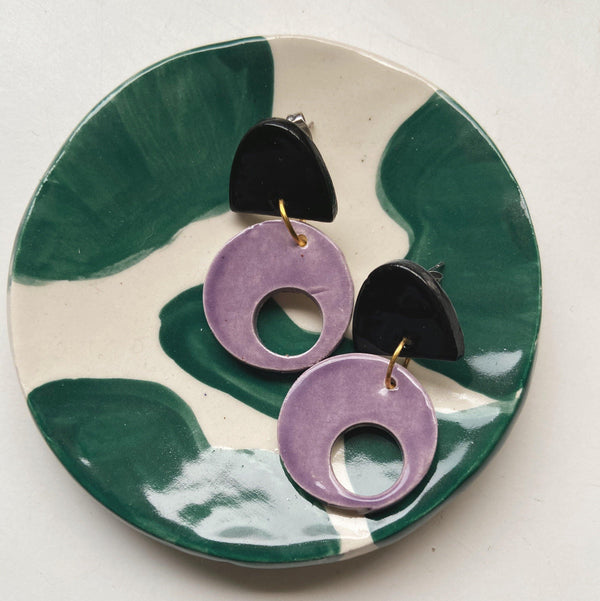 black and purple ceramic circle earrings