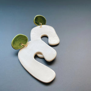 white and green abstract ceramic earrings