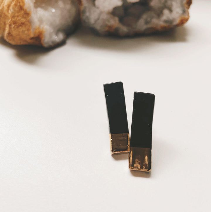 black ceramic stud earrings