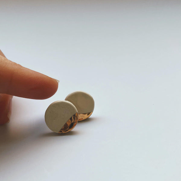 ivory and gold dipped ceramic studs