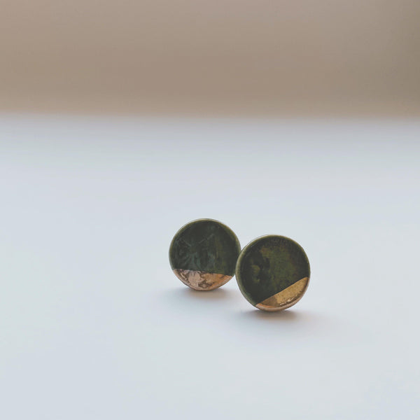 forest green and gold dipped ceramic studs