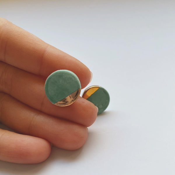 jade and gold dipped ceramic studs