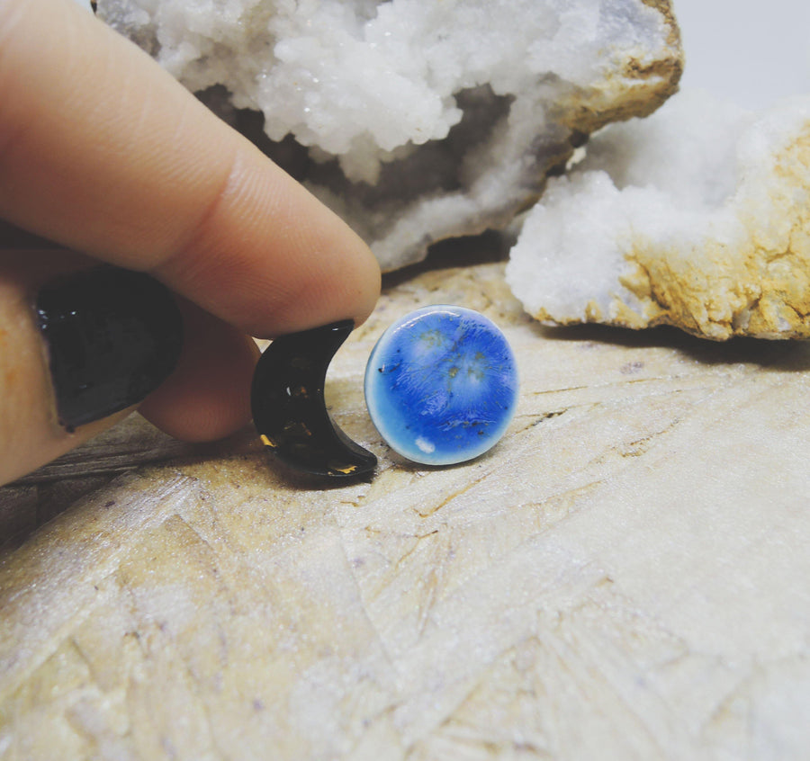 Moon Phase - Black + Blue Studs - gloriafaye