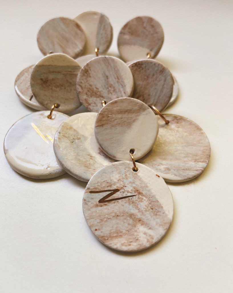 circle drop ceramic earrings