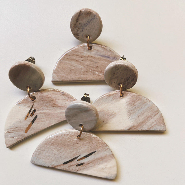 half moon ceramic earrings