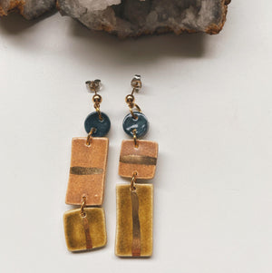 geometric ceramic earth toned earrings