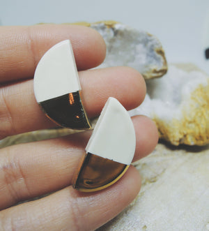 Gold Dipped Half Moon Studs - gloriafaye