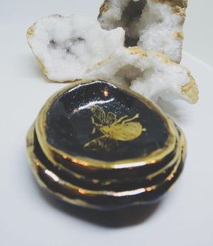 Black and Gold Bee Ring Dish - gloriafaye