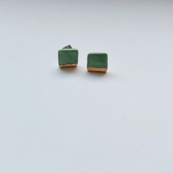 Square gold dipped studs